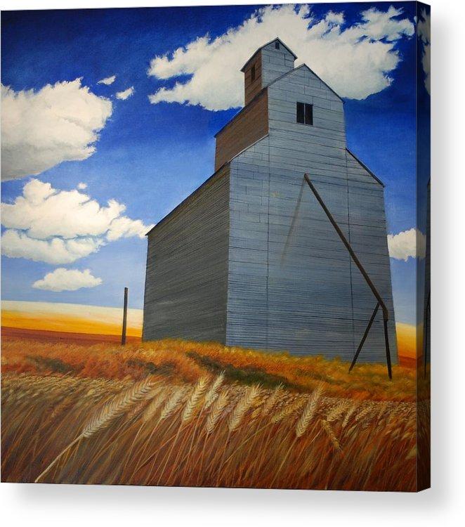 Wheat Acrylic Print featuring the painting Johnson Silo by Leonard Heid