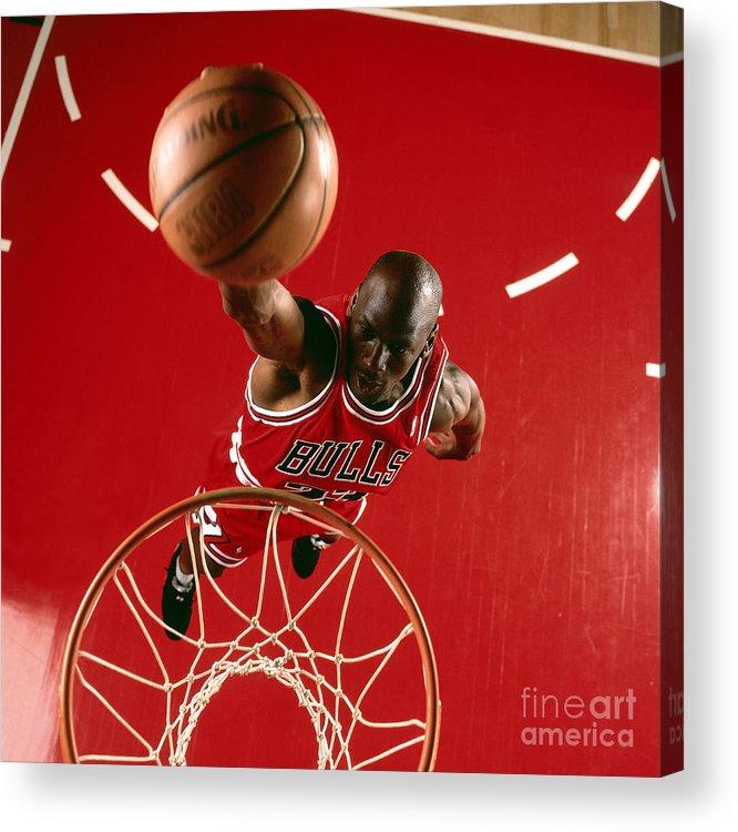 Chicago Bulls Acrylic Print featuring the photograph Michael Jordan Slam Dunk by Nba Photos