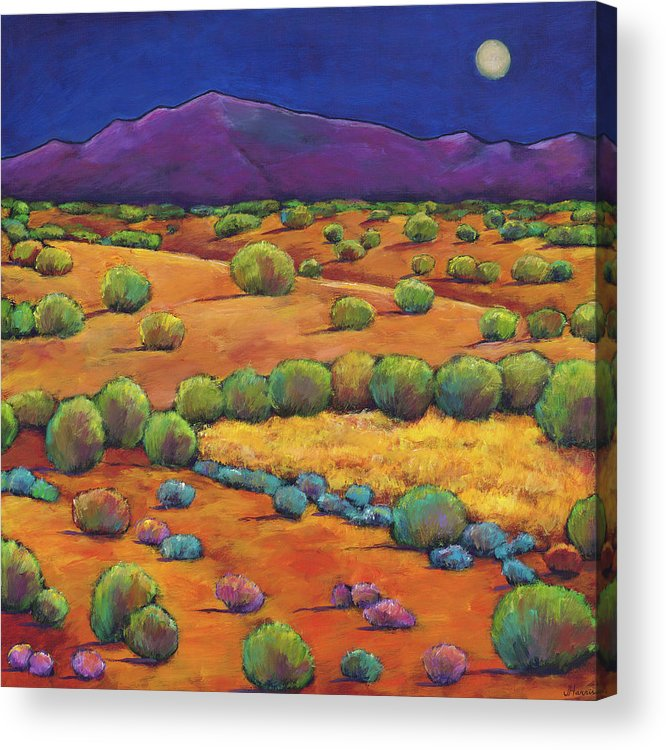 Contemporary Southwest Acrylic Print featuring the painting Midnight Sagebrush by Johnathan Harris