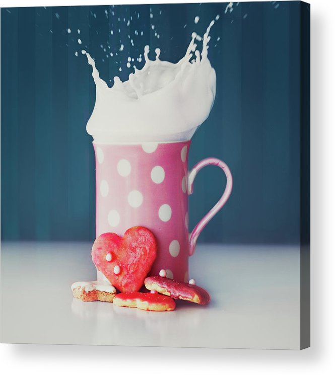 Milk Acrylic Print featuring the photograph Milk And Heart Shape Cookies by Julia Davila-lampe