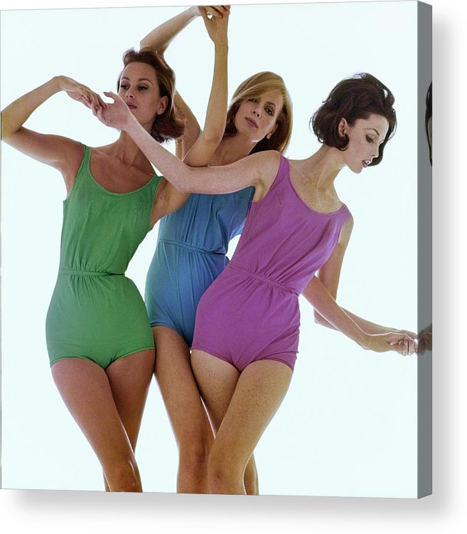 Fashion Acrylic Print featuring the photograph Models In Rose Marie Reed Swimsuits by Bert Stern