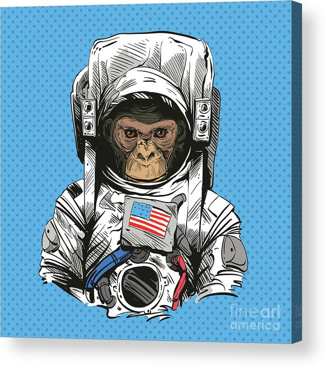 Art Acrylic Print featuring the digital art Monkey In Astronaut Suit. Hand Drawn by Yakovliev