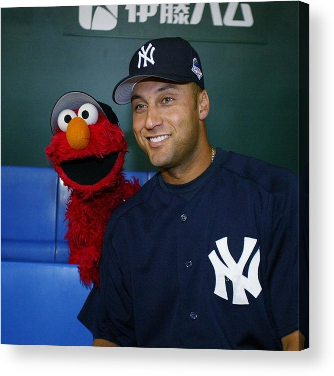 Derek Jeter Acrylic Print featuring the photograph New York Yankees Derek Jeter Relaxes In by New York Daily News Archive