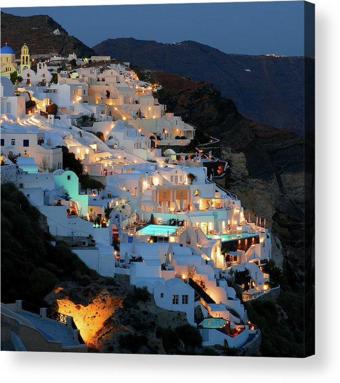 Tranquility Acrylic Print featuring the photograph Oia, Santorini Greece At Night by Marcel Germain