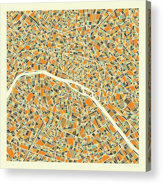 Paris City Map Acrylic Print featuring the digital art Paris Map 1 by Jazzberry Blue