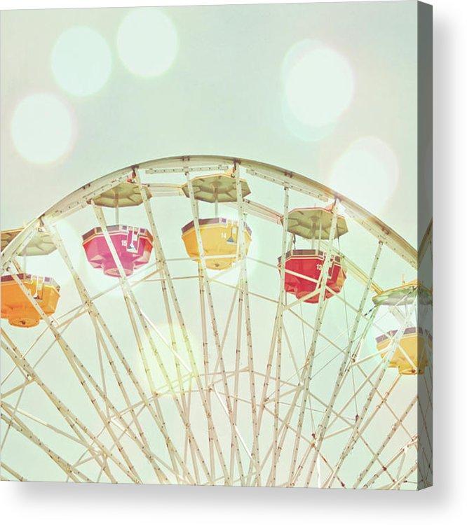 Hanging Acrylic Print featuring the photograph Pastel Ferris Wheel by Joyhey