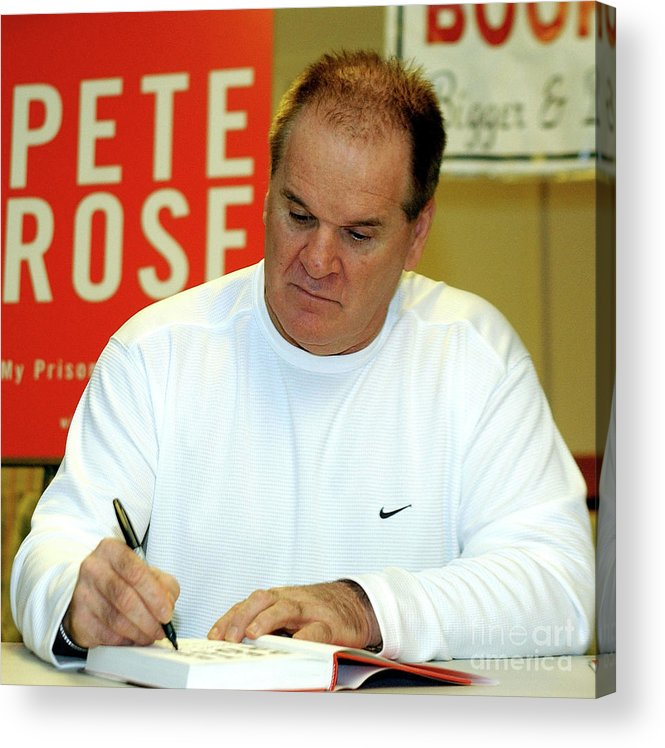 People Acrylic Print featuring the photograph Pete Rose Signs Autobiography In New by Stephen Chernin