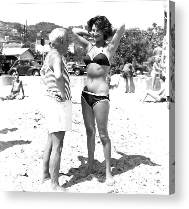 Artist Acrylic Print featuring the photograph Picasso And Bikini-clad Woman On The by Hulton Archive