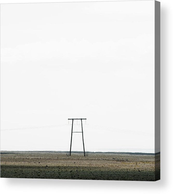 Clear Sky Acrylic Print featuring the photograph Powerline In Landscape by Roine Magnusson