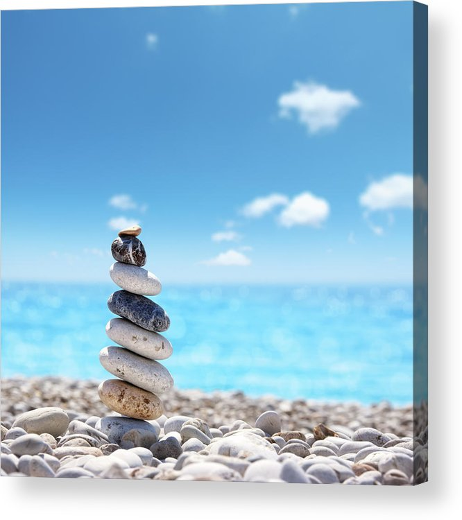 Water's Edge Acrylic Print featuring the photograph Stone Balance On Beach by Imagedepotpro