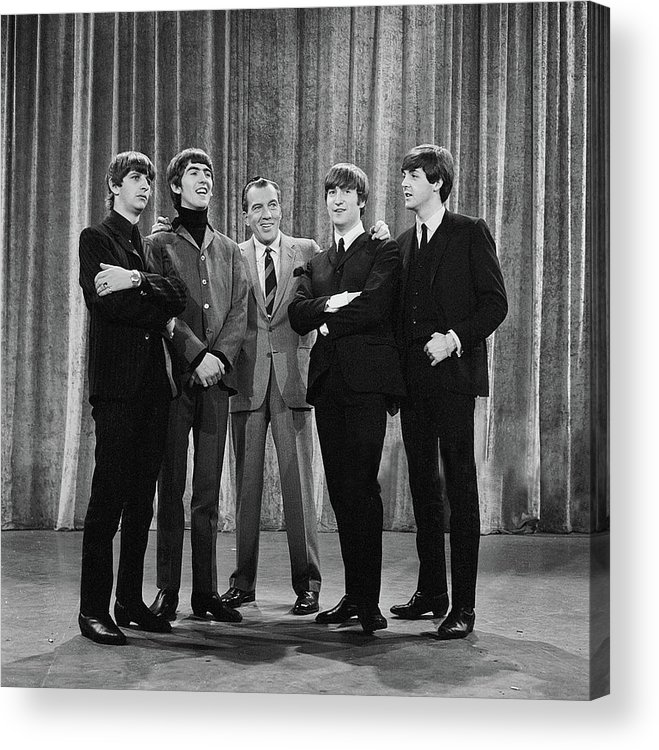 The Beatles Acrylic Print featuring the photograph the beatles and ed sullivan - February, 1964 by Mountain Dreams
