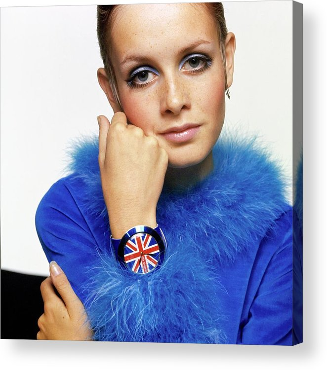Twiggy Acrylic Print featuring the drawing Twiggy in Blue with Union Jack Watch by Bert Stern