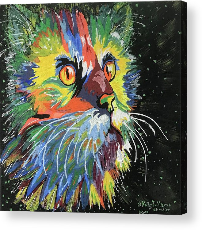 Movie Prop Acrylic Print featuring the painting Vibrant Cat by Kathy Marrs Chandler