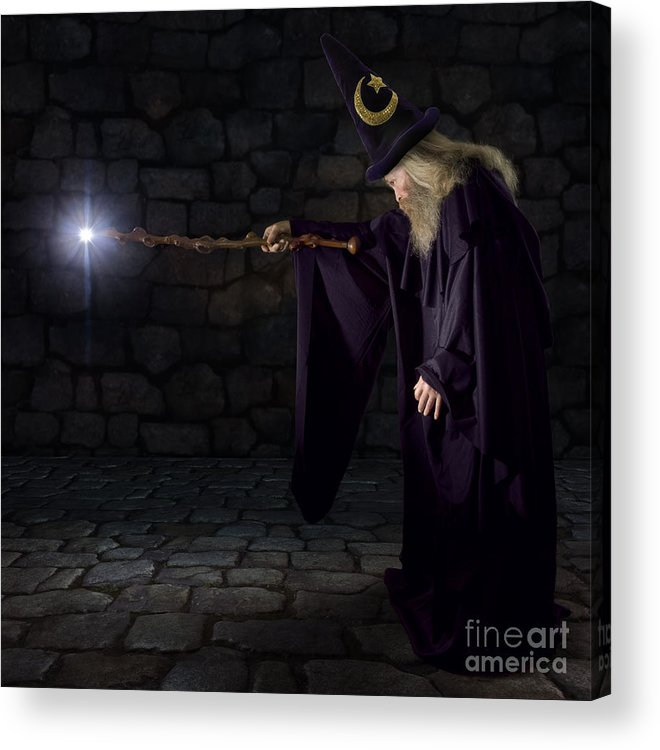 Magic Acrylic Print featuring the photograph Wizard In A Purple Robe And Wizard Hat by James Steidl
