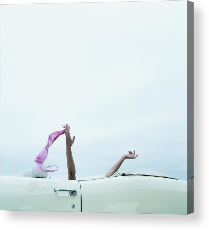 Young Men Acrylic Print featuring the photograph Young Woman In Convertible Car, Arms by Jerome Tisne