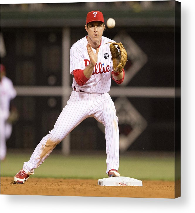 Double Play Acrylic Print featuring the photograph Chase Utley by Mitchell Leff