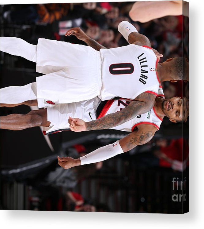 Nba Pro Basketball Acrylic Print featuring the photograph Damian Lillard and Kent Bazemore by Sam Forencich