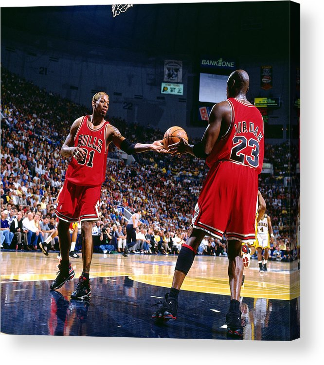 Chicago Bulls Acrylic Print featuring the photograph Dennis Rodman and Michael Jordan by Nathaniel S. Butler