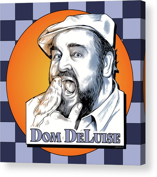 Dom Deluise Acrylic Print featuring the digital art Dom and the Bird by Greg Joens