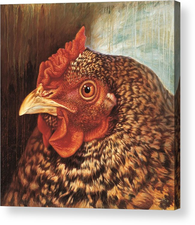 Chicken Acrylic Print featuring the painting Eleanor3 by Hans Droog