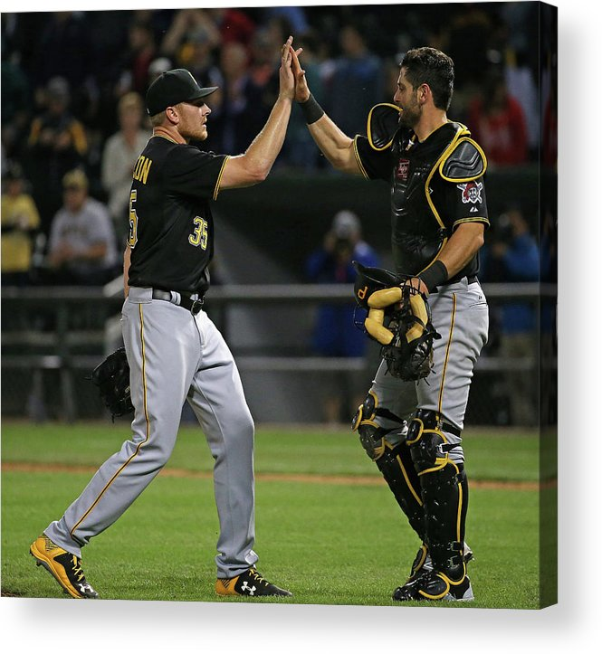 People Acrylic Print featuring the photograph Francisco Cervelli and Mark Melancon by Jonathan Daniel