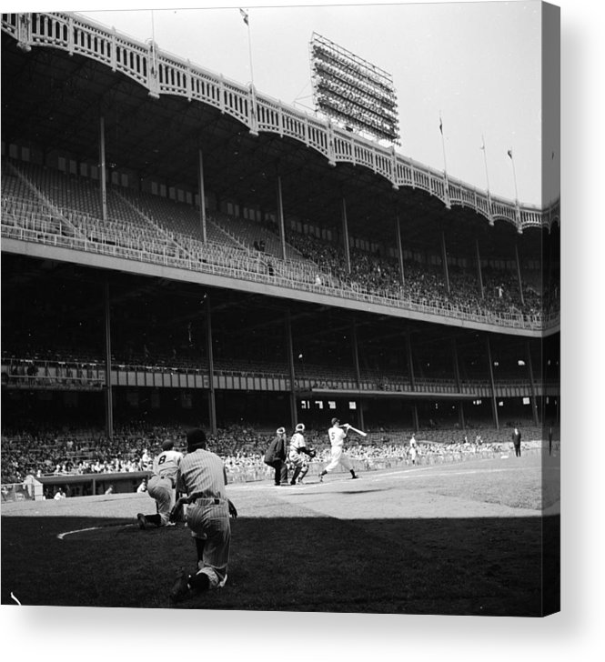 Motion Acrylic Print featuring the photograph Joe Dimaggio and Yogi Berra by Douglas Grundy