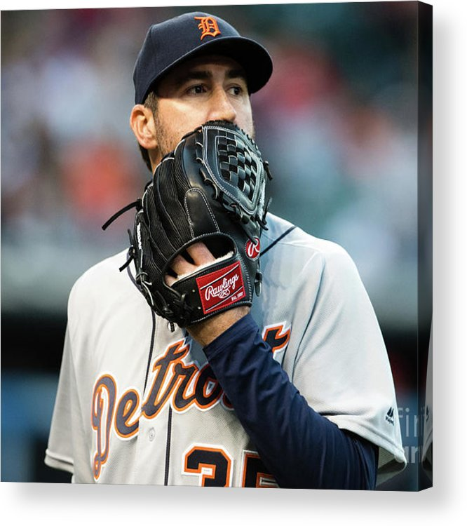 People Acrylic Print featuring the photograph Justin Verlander and Francisco Lindor by Jason Miller