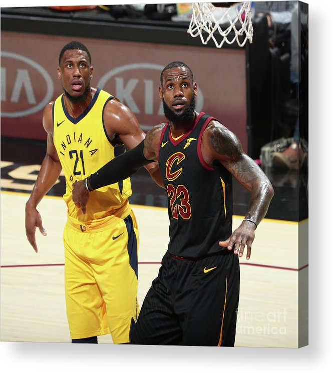Playoffs Acrylic Print featuring the photograph Lebron James and Thaddeus Young by Nathaniel S. Butler