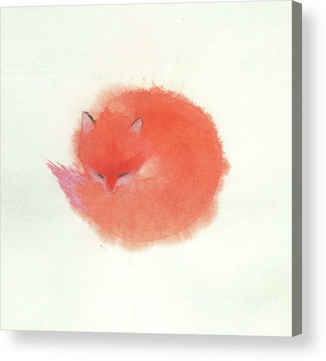 A Red Fluffy Little Fox Curls Up To Sleep In The Snow. It's A Simple Chinese Contemporary Brush Painting On Rice Paper. Acrylic Print featuring the painting Little Fox by Mui-Joo Wee