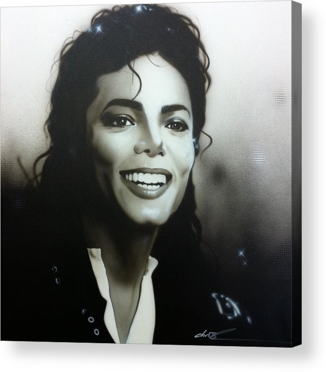 Michael Jackson Acrylic Print featuring the painting M. J. by Christian Chapman Art