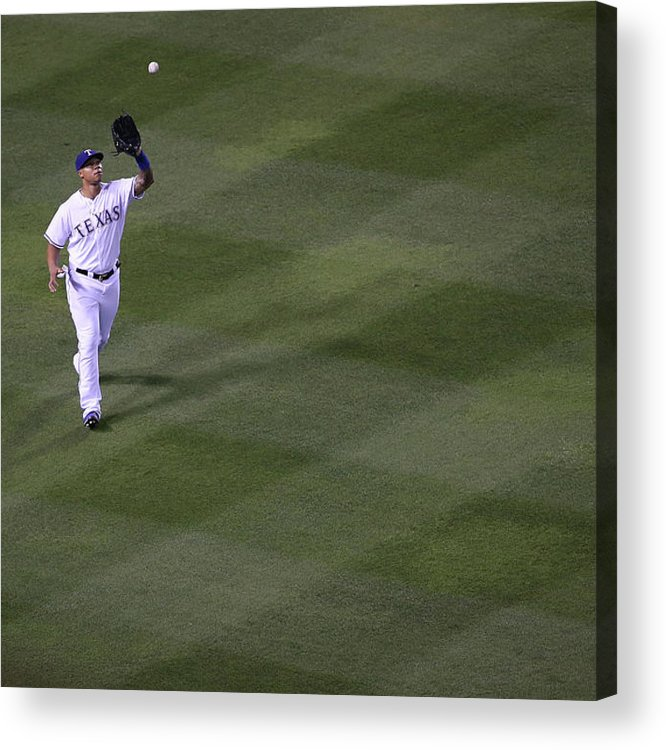 American League Baseball Acrylic Print featuring the photograph Michael Choice and Derek Norris by Rick Yeatts