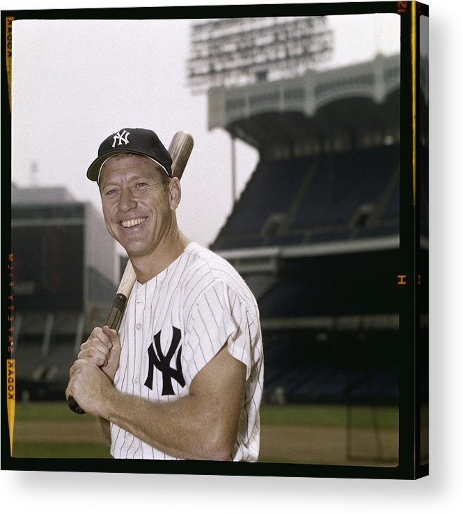 American League Baseball Acrylic Print featuring the photograph Mickey Mantle by Louis Requena