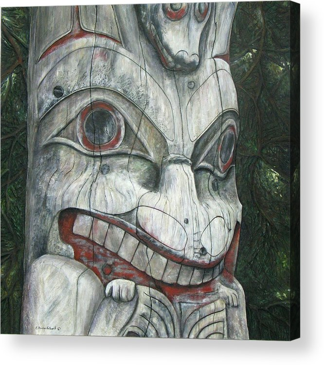 Canadian Acrylic Print featuring the relief Sitka Totem-Alaska by Elaine Booth-Kallweit