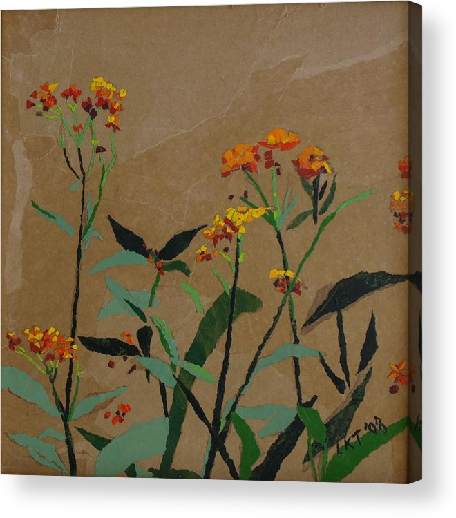 Floral Recycled Collage Acrylic Print featuring the painting Smith Garden by Leah Tomaino