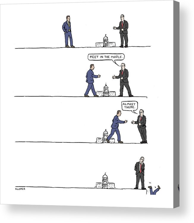 Captionless Acrylic Print featuring the drawing The Art of Political Compromise by Brendan Loper