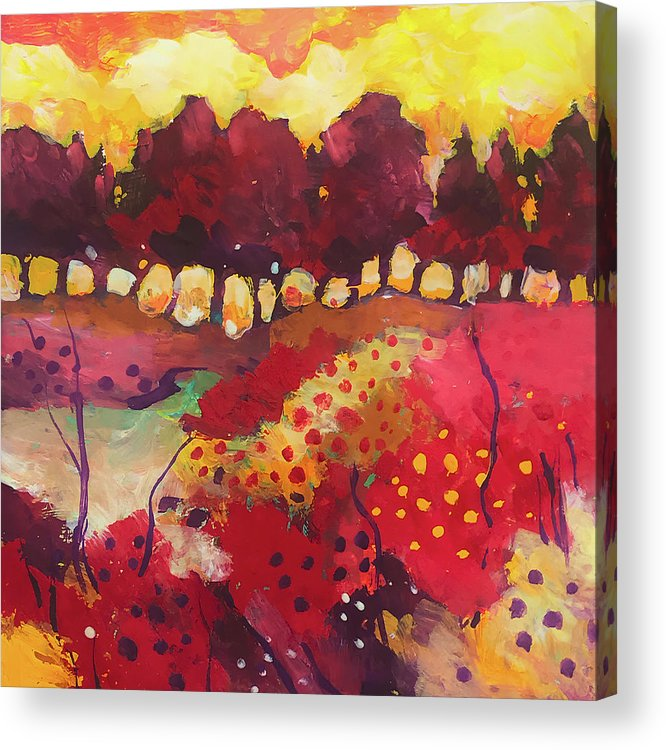 Landscape Acrylic Print featuring the painting Woodland in full colors by Alessandro Andreuccetti