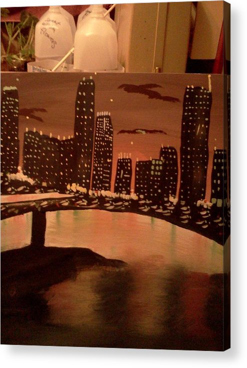 Landscape. Of City At Night And A Bridge. Acrylic Print featuring the painting Busy Ness by Renee McKnight