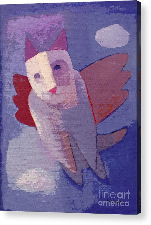 Flying Cat Acrylic Print featuring the painting Flying Cat by Lutz Baar