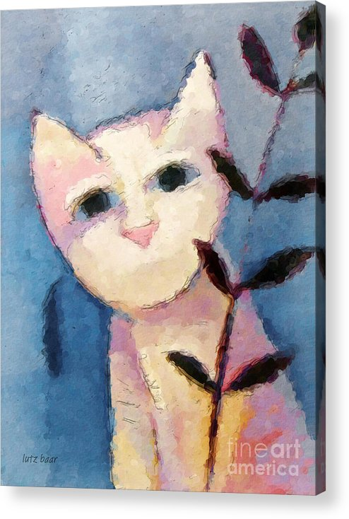 Cat Acrylic Print featuring the painting Little White Cat by Lutz Baar