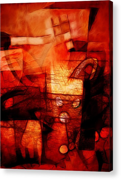 Red Drama Acrylic Print featuring the digital art Red Drama by Ann Croon