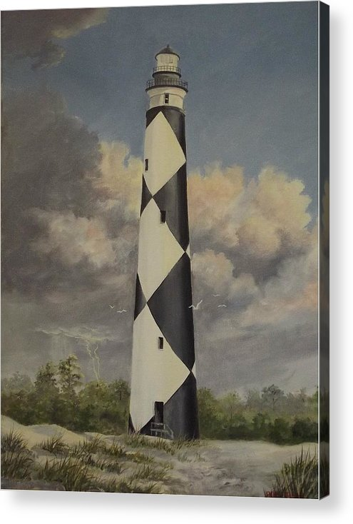 Stormy Skys Acrylic Print featuring the painting Storm Over Cape Fear by Wanda Dansereau