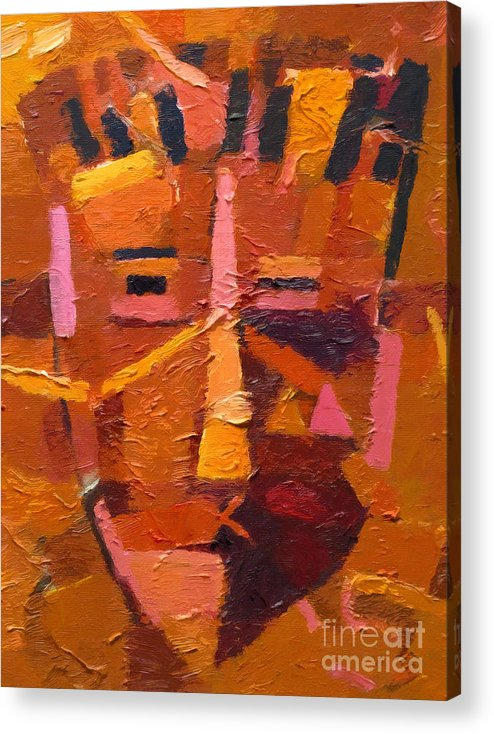 Mask Acrylic Print featuring the painting The Mask by Lutz Baar