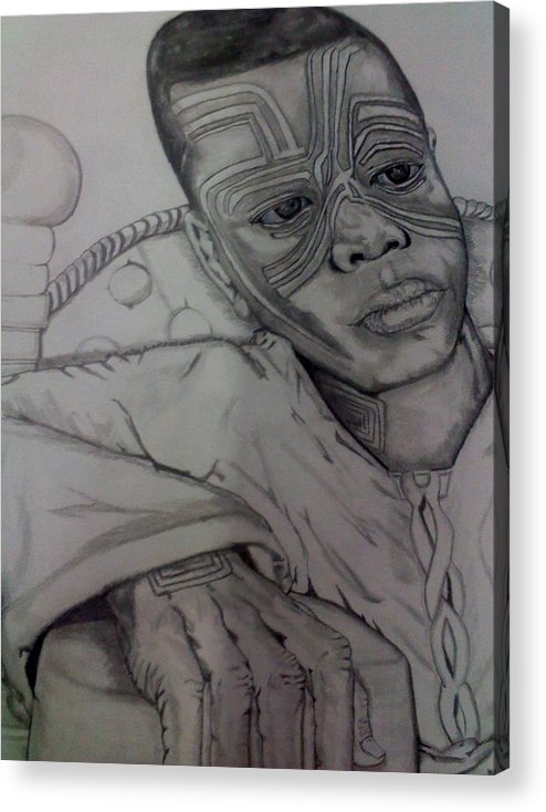 Portrait Acrylic Print featuring the drawing The Young King by Brian Brown