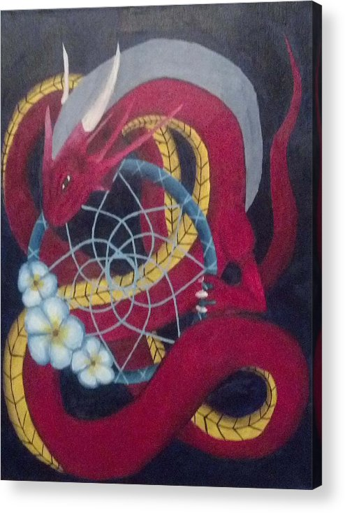 Dragon Acrylic Print featuring the painting Holding Dreams by Emily Policky