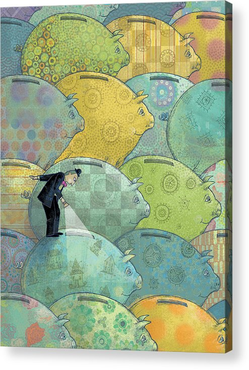 Piggy Bank Acrylic Print featuring the digital art Where's The Money? by Dennis Wunsch