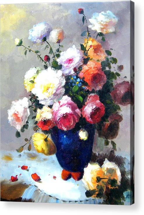 Still Life Flowers Acrylic Print featuring the painting Blue Vase by Imagine Art Works Studio