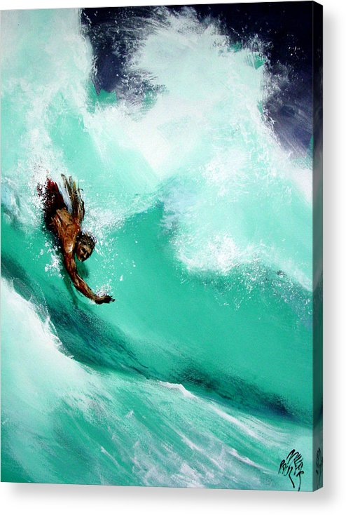 Body Surfer Acrylic Print featuring the painting Brad Miller In Makaha Shorebreak by Paul Miller