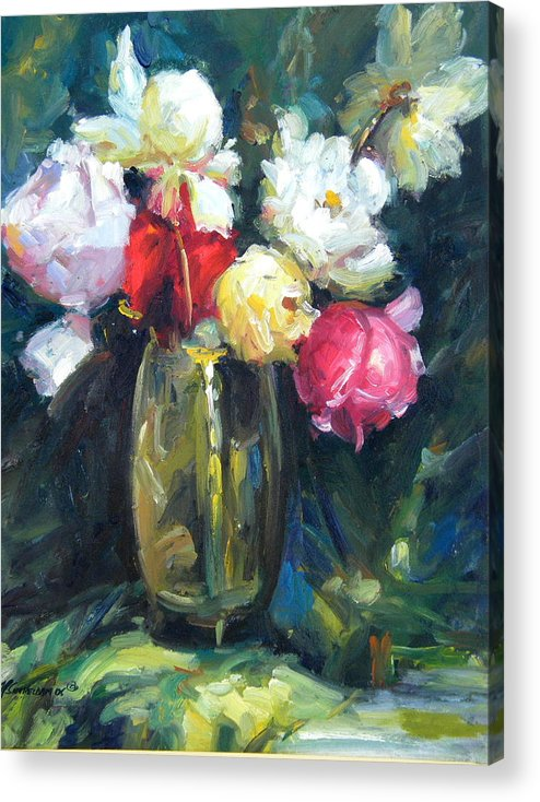 Flowers Acrylic Print featuring the painting Brass Vase by Imagine Art Works Studio