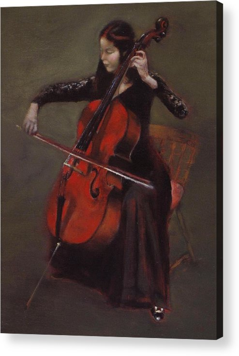 Young Lady Acrylic Print featuring the painting Cello Player by Takayuki Harada