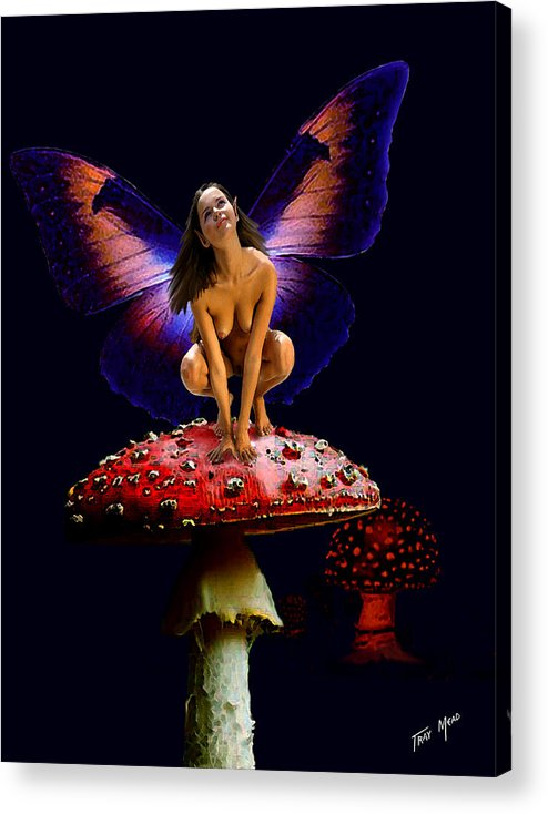 Fairy Acrylic Print featuring the painting Fairy On Mushroom by Tray Mead